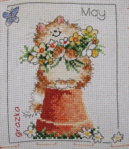 #kot #HaftKrzyżykowy #MargaretSherry