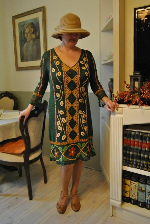 Sukienka z bawełny #druty #haft #robótki #szydełko