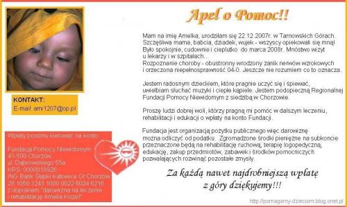 http://pomagamy.dbv.pl/ #TarnowskieGóry #Apel #ChoreDzieci #darowizna #schorzenie #OpiekaRehabilitacyjna #Fiedziuszko #fundacja #PomocCharytatywna #PomocDzieciom #PomocnaDłoń #rehabilitacja #sponsor #sponsoring #AmeliaKiszel #pomagamydbvpl #pomoc