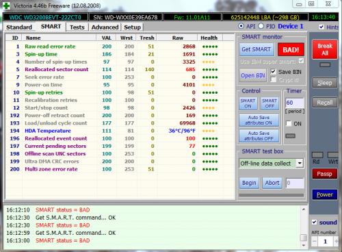 smart failure predicted on hard disk 0.....press F1