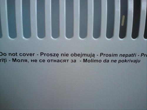 Ciekawie przetłumaczone ostrzeżenie na grzejniku... #grzejnik